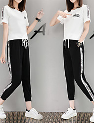 cheap -Women's Pocket Drawstring Tracksuit Letter Zumba Yoga Running Tee / T-shirt Pants / Trousers Clothing Suit Plus Size Activewear Breathable Comfortable Micro-elastic