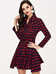 cheap -Women's Plaid Red Dress Summer Daily A Line Plaid V Neck S M / Cotton