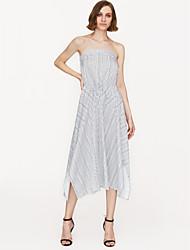 cheap -Women's Daily Swing Dress High Waist Strapless White Navy Blue M L XL