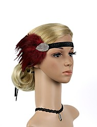 cheap -The Great Gatsby Charleston Vintage 1920s Flapper Headband Women's Lace up Rhinestones Costume Head Jewelry Black / Red Vintage Cosplay Party Prom