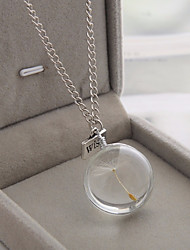 cheap -Women's Pendant Necklace Chain Necklace Stylish Cuban Link Ball Dandelion Stylish Simple Sweet Glass Alloy Transparent 60 cm Necklace Jewelry 1pc For Date Work