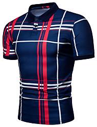 cheap -Men's Daily Basic Slim Polo - Striped / Color Block Black & Red / Black & Gray, Print White / Short Sleeve