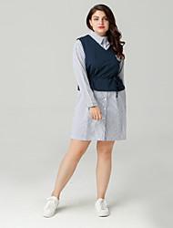cheap -Women's Going out Slim Sheath Dress Shirt Collar Navy Blue XXL XXXL XXXXL