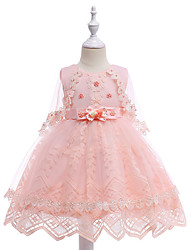cheap -Kids Girls' Vintage Basic Party Birthday Solid Colored Lace Sleeveless Knee-length Dress Blushing Pink / Cotton