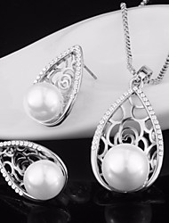 cheap -Women's Cubic Zirconia Stud Earrings Pendant Necklace Hollow Out Foxtail chain Drop Ladies Stylish Unique Design Elegant Imitation Pearl Rhinestone Earrings Jewelry Gold / Silver For Engagement