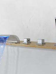 cheap -Bathtub Faucet - Contemporary Chrome Widespread Brass Valve Bath Shower Mixer Taps / Three Handles Five Holes