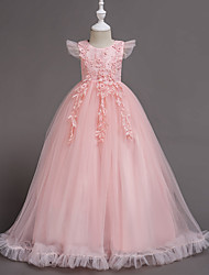 cheap -A-Line Floor Length Wedding / Party / Pageant Flower Girl Dresses - Tulle / Polyester Short Sleeve Jewel Neck with Bow(s) / Butterfly