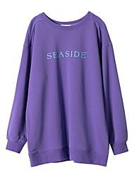 abordables -sweat-shirt à manches longues pour femmes - lettre / col rond coloré