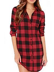cheap -Women's Daily Basic Shirt - Plaid Shirt Collar Black
