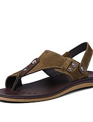 cheap -Men's Comfort Shoes Cowhide Summer Sandals Brown / Khaki / Outdoor