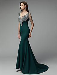 cheap -Mermaid / Trumpet Chic & Modern Elegant & Luxurious Beaded & Sequin Formal Evening Dress V Neck Sleeveless Court Train Chiffon with Crystals 2020
