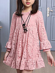 cheap -Kids Girls' Active Sweet Daily Going out Dusty Rose Solid Colored Lace Long Sleeve Dress Red