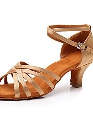 cheap -Women's Dance Shoes Satin Latin Shoes Buckle Sandal / Heel Cuban Heel Customizable Beige / Performance