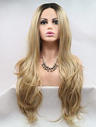 cheap -Synthetic Lace Front Wig Body Wave Layered Haircut Lace Front Wig Black / Blonde Long Black / Gold Synthetic Hair 24 inch Women's Women Youth Black / Blonde