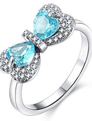 cheap -Women's Ring 1pc Silver Copper Rhinestone Platinum Plated Ladies Stylish Sweet Lolita Daily Date Jewelry Stylish Heart Butterfly Cute / Imitation Diamond