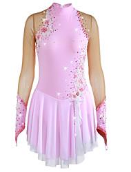 abordables -21Grams Robe de Patinage Artistique Femme Fille Patinage Robes Rose Pale Fleur Spandex Haute élasticité Compétition Tenue de Patinage Chaud Fait à la main A Bijoux Strass Manches Longues Patinage sur