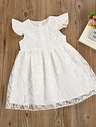 cheap -Baby Girls' Basic Daily White Solid Colored Lace / Patchwork Sleeveless Regular Regular Cotton Dress White