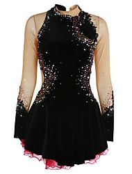 abordables -Robe de Patinage Artistique Femme Fille Patinage Robes Noir Blanche Violet Spandex Haute élasticité Compétition Tenue de Patinage Chaud Fait à la main A Bijoux Strass Manches Longues Patinage sur