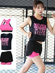 cheap -Women's Cross Back Mesh Tracksuit Crew Neck Zumba Yoga Running Sportswear Breathable 3D Pad Quick Dry Anti-Shock Shorts Sports Bra Tee / T-shirt Sleeveless Activewear Micro-elastic