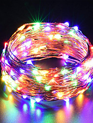 cheap -USB Copper Wire lights Fairy String 10M 33Ft 100leds with 7 different color RGB change automatically Waterproof Starry Dcor Rope Lights Christmas strip Lights (Automatic change of color)