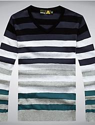 cheap -Men's Daily Striped Long Sleeve Regular Pullover Sweater Jumper, V Neck Black / Light Blue / Red M / L / XL