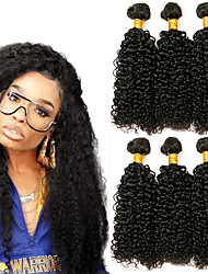 cheap -3 Bundles Brazilian Hair Kinky Curly Human Hair Headpiece Extension Bundle Hair 8-28 inch Black Natural Color Human Hair Weaves Soft Silky Best Quality Human Hair Extensions / 8A