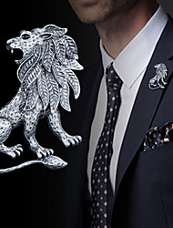 cheap -Men's Brooches Vintage Style Stylish Lion Vintage Fashion British Brooch Jewelry Gold Silver For Daily Holiday