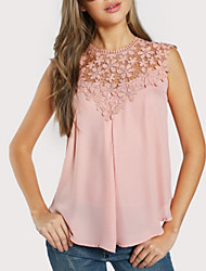 cheap -Women's Daily Blouse - Solid Colored Dusty Rose Black