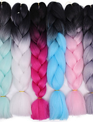 cheap -Crochet Hair Braids Jumbo Box Braids Ombre Synthetic Hair Braiding Hair 1 pc / The hair length in the picture is 24inch.