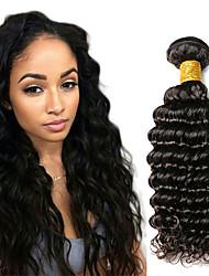 cheap -1 Bundle Indian Hair Deep Wave Human Hair Natural Color Hair Weaves / Hair Bulk 10-20 inch Human Hair Weaves Human Hair Extensions