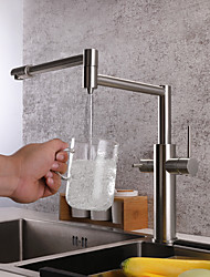 Недорогие -кухонный смеситель - Две ручки одно отверстие Матовый никель Стандартный Носик / Горшок Filler Настольная установка Современный Kitchen Taps