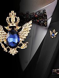 cheap -Men's Cubic Zirconia Brooches Retro Stylish Elegant Fashion British Brooch Jewelry Black Blue For Wedding Holiday