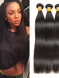 cheap -3 Bundles Indian Hair Straight Human Hair Unprocessed Human Hair Natural Color Hair Weaves / Hair Bulk Extension Bundle Hair 8-28 inch Natural Color Human Hair Weaves Gift Hot Sale Thick Human Hair