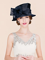 cheap -Flax / Feather / Satin Kentucky Derby Hat / Fascinators / Hats with 1 Wedding / Special Occasion / Casual Headpiece