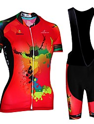 cheap -Malciklo Women's Short Sleeve Cycling Jersey with Bib Shorts - Red / White / Black / Red Plus Size Bike Bib Shorts Jersey Breathable Quick Dry Anatomic Design Reflective Strips Sports Lycra Painting