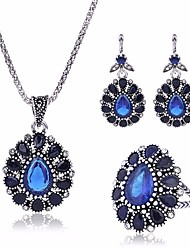 cheap -Women's AAA Cubic Zirconia Vintage Necklace Earrings Ring Vintage Style Tennis Chain Totem Series Flower Vintage Romantic Ethnic Earrings Jewelry Blue For Ceremony Formal