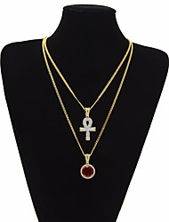 cheap -Men's AAA Cubic Zirconia Statement Necklace Long Necklace Cuban Link Thick Chain Cross Statement Trendy Rock egyptian Copper Alloy Black Dark Red Blue 51/61 cm Necklace Jewelry 3pcs For Club Bar