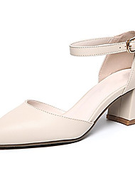 cheap -Women's Heels Low Heel Pointed Toe PU D'Orsay & Two-Piece Summer Black / Beige / Daily