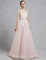 cheap -A-Line Wedding Dresses Sweetheart Neckline Court Train Lace Tulle Spaghetti Strap Beautiful Back with Lace 2020