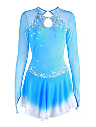 cheap -Figure Skating Dress Women's Girls' Ice Skating Dress Deep Blue Violet White Halo Dyeing Spandex High Elasticity Competition Skating Wear Handmade Solid Colored Long Sleeve Ice Skating Figure Skating
