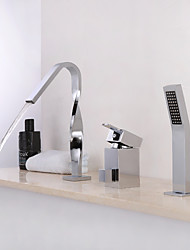 cheap -Bathtub Faucet - Contemporary Chrome Widespread Ceramic Valve Bath Shower Mixer Taps / Single Handle Three Holes