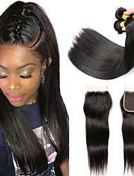 cheap -3 Bundles with Closure Peruvian Hair Straight Human Hair Headpiece Extension Bundle Hair 8-24 inch Black Natural Color Human Hair Weaves Silky Hot Sale For Black Women Human Hair Extensions / 8A