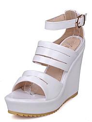 cheap -Women's Sandals Wedge Heel PU Spring White / Gold / Silver