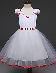cheap -Princess Cosplay Costume Flower Girl Dress Kid's Girls' A-Line Slip Dresses Christmas Halloween Carnival Festival / Holiday Tulle Cotton White Carnival Costumes Princess