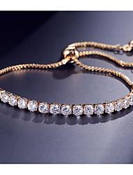 cheap -Women's Cubic Zirconia Tennis Bracelet Pendant Bracelet Stylish Tennis Chain Ball Stylish Sweet Elegant Copper Bracelet Jewelry Gold / White / Rose Gold For Gift Going out