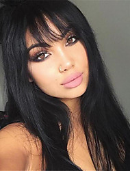 cheap -Synthetic Wig Straight Kardashian Layered Haircut Wig Long Black#1B Synthetic Hair 24 inch Women's Heat Resistant With Bangs Black