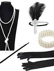cheap -The Great Gatsby Charleston 1920s Roaring Twenties Roaring 20s Costume Accessory Sets Flapper Headband Women's Lace up Costume Head Jewelry Vintage Bracelet Pearl Necklace Black / Golden+Black