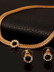 cheap -Women's AAA Cubic Zirconia Choker Necklace Vintage Necklace Earrings Cuban Link Thick Chain Flower Ladies European Trendy Gothic 18K Gold Plated Earrings Jewelry Gold For Daily Bar