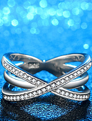 cheap -Women's Band Ring 1pc Silver Copper Platinum Plated Imitation Diamond Ladies Unusual Unique Design Daily Work Jewelry Stylish Crossover X Ring Ribbon Cute