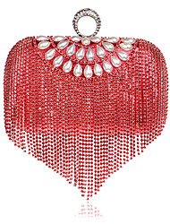 cheap -Women's Bags Polyester Evening Bag Crystals Tassel Solid Color Party Wedding Event / Party Wedding Bags Blue Red Gold